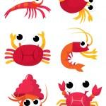 Colorful cartoon crustacean family cartoon vector ...