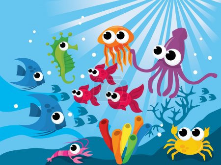 Illustration for Colorful world of cartoon vector illustration of cute sea creatures. - Royalty Free Image