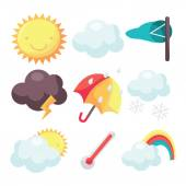 A cartoon vector illustration set of nine different weather related icons