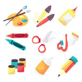A vector illustration icon set of art supplies like paintbrush paint pallet marker pen glue crayon scissor paint tube paint aerosal paint and pencil