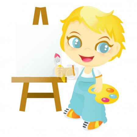 Illustration for A cartoon vector illustration of a happy artist boy, holding brush and paint pallete. - Royalty Free Image