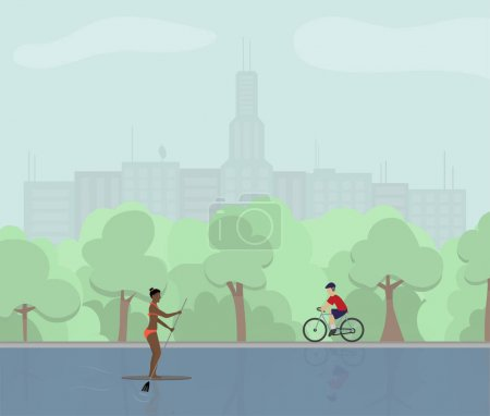 Illustration for Summer in the city park with cyclist and paddling african american girl concept vector illustration. Perfect for internet publication or printing in magazines. - Royalty Free Image