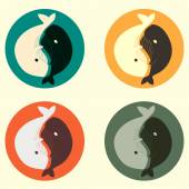 Yin and yang whale vector set in colours