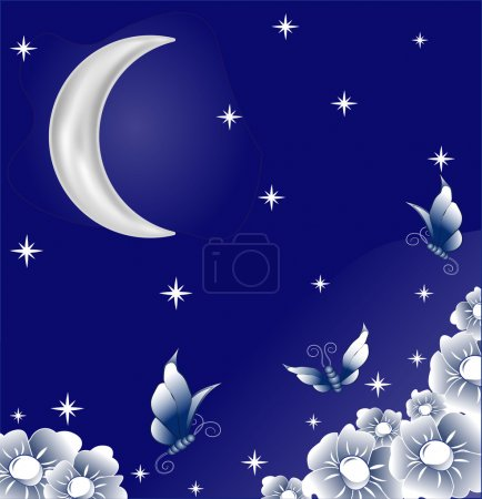 Illustration for Beautiful butterflies, fly over the beautiful flowers exhaling marvelous aroma in a garden, under the night stellar sky and the moon - Royalty Free Image
