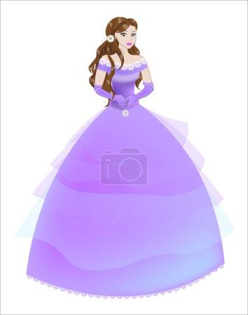 princesse la brune dans une robe violette