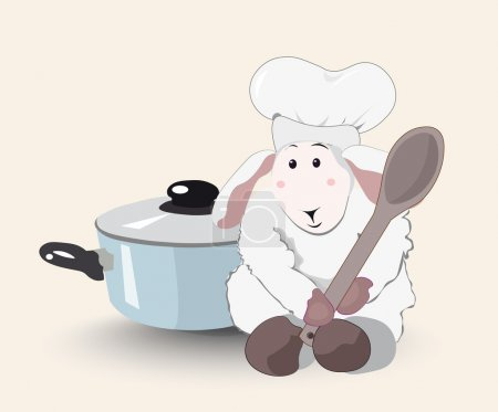 Illustration for Lovely white lamb the cook with a wooden spoon in a cook cap and blue pan - Royalty Free Image