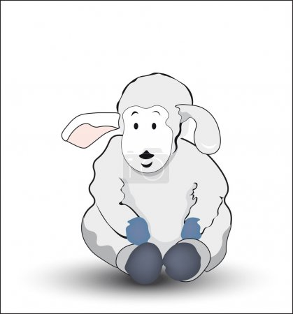 Illustration for The lovely gray drawn lamb, sits and smiles - Royalty Free Image
