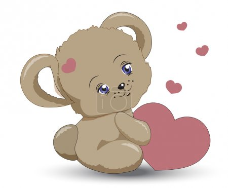 Illustration for The little vector teddy bear girle holds heart in hand, a Valentines Day card - Royalty Free Image