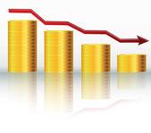 Financial concept declining graph