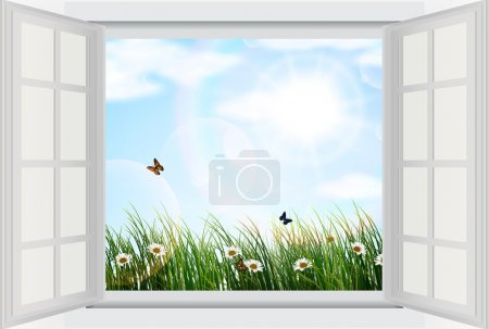 Illustration for Illustration of Open window with flowers and butterfly - Royalty Free Image