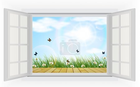 Open window with flowers and butterfly view of summer