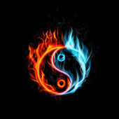 Illustration of Fire burning Yin Yang with black background