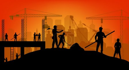 Illustration for Illustration of Construction worker silhouette at work background - Royalty Free Image