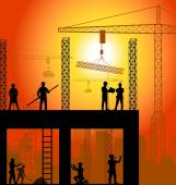 Construction worker silhouette at work background