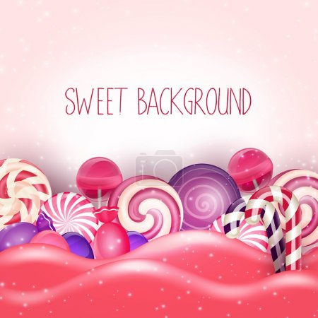 Candy of pink land background