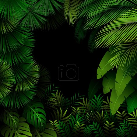 Illustration for Illustration of Exotic pattern with tropical leaves on a black background - Royalty Free Image
