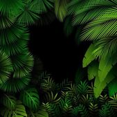Illustration of Exotic pattern with tropical leaves on a black background