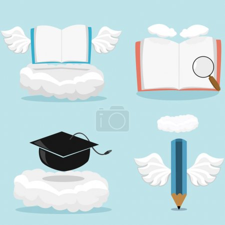 Illustration for Vector Illustration Of Angel Book, Hat Graduation, pencil and Blue Color Background. - Royalty Free Image