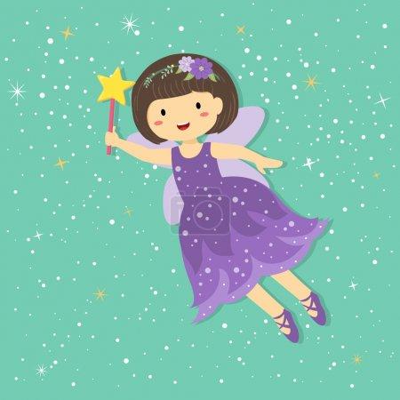 Illustration pour Illustration de mignonne petite fée violette avec baguette magique et étoile volant en étoile Tosca fond vert . - image libre de droit