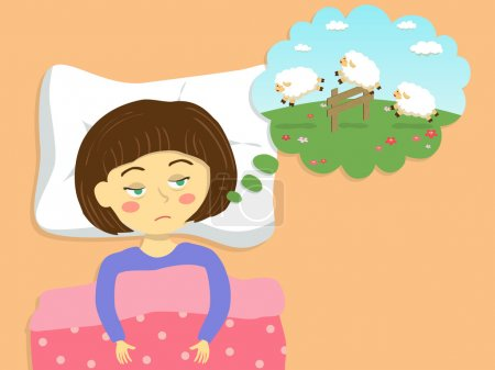 Illustration for A cute girl imagine about counting sheep in the field to make him sleep. - Royalty Free Image