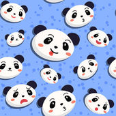 Seamless pattern with many expression of cute panda face in blue background