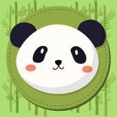 Cute Panda Head Cartoon in Bamboo Background
