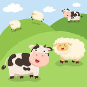 Cute Cows and Sheeps Standing on Field