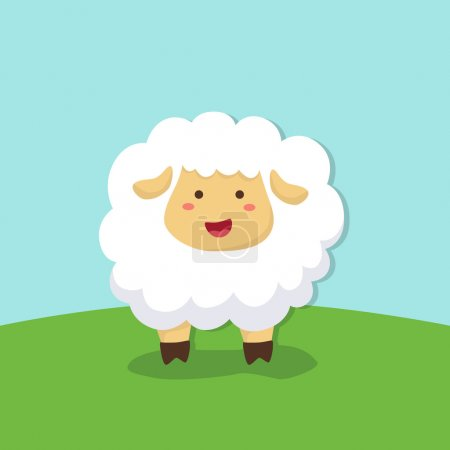 Illustration for Cute Sheep Standing in Field Background - Royalty Free Image