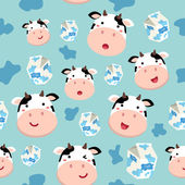 Seamless Pattern Cow and Milk Carton in Spotted Blue Background