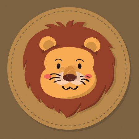 Illustration for Editable vector illustration of a cute cartoon lion head in brown background. - Royalty Free Image