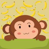 Close up picture of a cute monkey with banana background