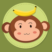 Editable vector illustration of a cute cartoon monkey head with banana in green background