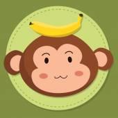 Cute Monkey Head Cartoon