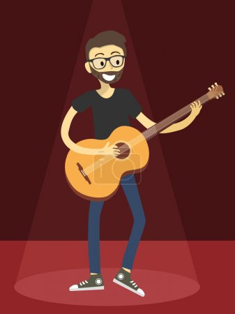 Man Play Acoustic Guitar in Red Spotlight