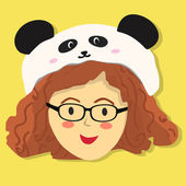 Curly Glasses Girl with Panda Hat