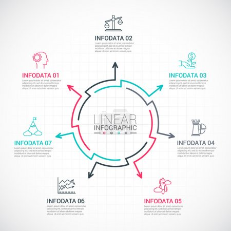 Illustration for Thin line flat elements for infographic. Template for diagram, graph, presentation and chart. Business concept with 7 options, parts, steps or processes. Data visualization. - Royalty Free Image