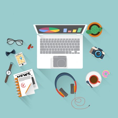 Photo for Flat design illustration of creative office workspace with computer. Top view of desk background with laptop, digital devices, books and documents. - Royalty Free Image