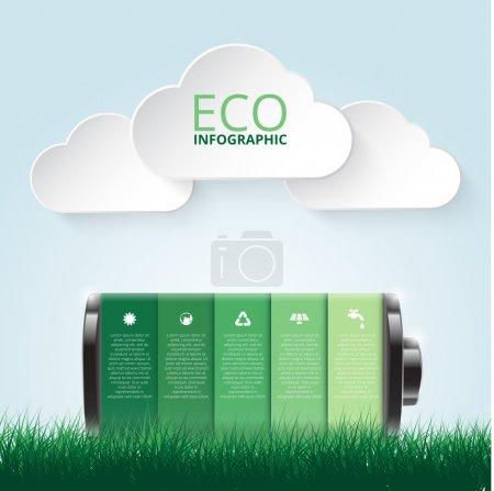 Illustration pour Illustration vectorielle de l'infographie écologique en batterie. Contexte abstrait . - image libre de droit
