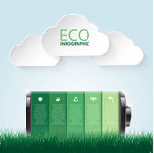 Vector illustration of eco infographic made of battery Abstract background