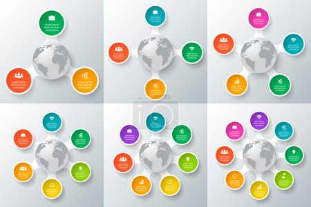 Circle element with earth for infographic.