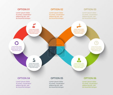 Illustration for Vector infinity element for infographic. Template for cycling diagram, graph, presentation. Business concept with 6 options, parts, steps or processes. Abstract background. - Royalty Free Image