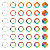 Segmented and multicolored pie charts and arrows set with 3 4 5 6 7 and 8 divisions Template for diagram graph presentation and chart