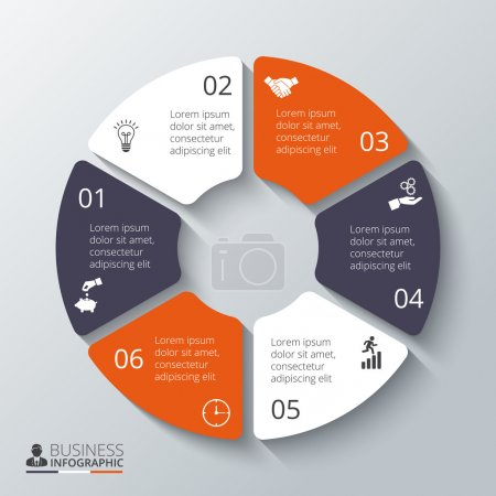 Illustration for Vector circle element for infographic. Template for cycle diagram, graph, presentation and round chart. Business concept with 6 options, parts, steps or processes. Abstract background. - Royalty Free Image