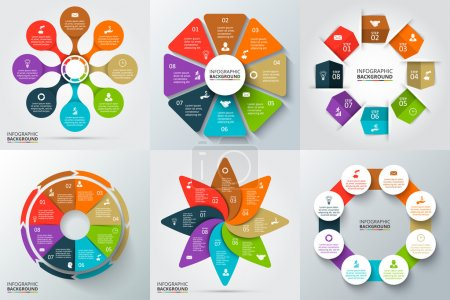 Illustration for Vector arrows, octagon, circles and other elements for infographic. Template for cycle diagram, graph, presentation and round chart. Business concept with 6 options, parts, steps or processes. - Royalty Free Image