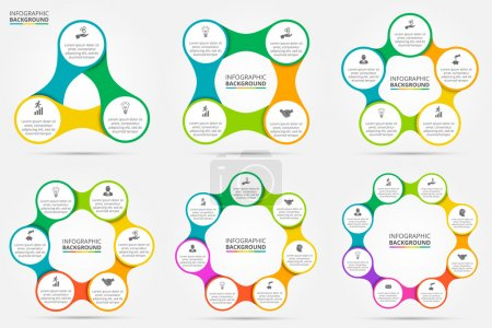 Illustration for Vector circle infographic. Template for cycle diagram, graph, presentation and round chart. Business concept with 3, 4, 5, 6, 7 and 8 options, parts, steps or processes. Data visualization. - Royalty Free Image