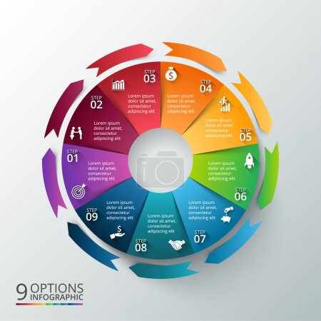 Illustration for Vector circle with arrows for infographic. Template for cycle diagram, graph, presentation and round chart. Business concept with 9 options, parts, steps or processes. Abstract background. - Royalty Free Image