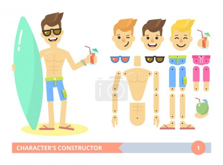 Characters constructor: young fit sexy man on the beach.