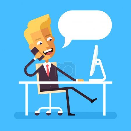 Handsome blonde manager in formal suit sitting legs crossed at the desk with a computer and talking on cell phone. Cartoon character - cute businessman. Stock vector illustration style flat.