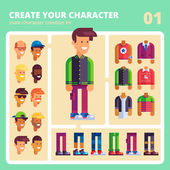 Male character kit  in flat design Vector
