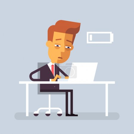 Tired worker is sitting at the desk with laptop. Vector illustration in flat design.